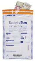 Single Pocket Money Handling Bag Opaque 10 x 15